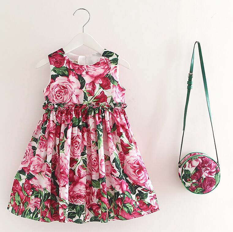 Подробнее о Girls Dress with Bag 2017 Brand Toddler Girl Summer Clothes Kids Costumes Floral Print Robe Princesse Fille Children Dress Kids baby girl dress 2016 brand girls summer dress children clothing lemon print kids dresses for girls clothes robe princesse fille