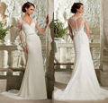 Long sleeve lace fishtail chapel train wedding dress sashes diamond mermaid formal dress