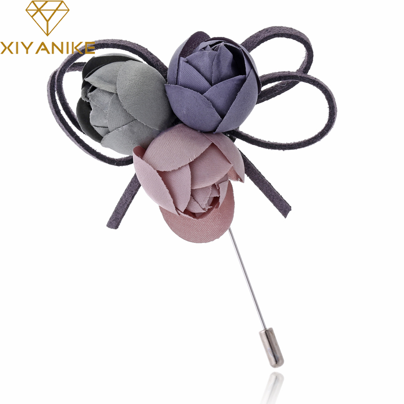 XIYANIKE Colorful Cloth Flower Pin Brooch For Women Elegant Fashion Corsage Vintage Jewe ...