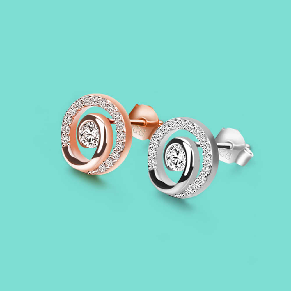 Minimalist S925 Sterling Silver Stud Earrings for Women's Not Allergic Real Silver jewelry Zircon earrings Party accessories