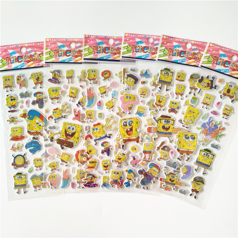 6 sheets 3D SpongeBob Puffy Bubble Stickers Mixed Cartoon Waterpoof DIY Children Kids Boy Girl Toys Reward 10 sheets cute masha and bear 3d stickers diary pvc puffy reward kids lot kawaii educational bubble stickers for notebook