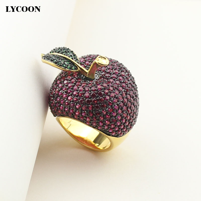 LYCOON elegant crystal apple rings food style yellow gold color luxury prong setting rose red/green Cubic Zirconia for women