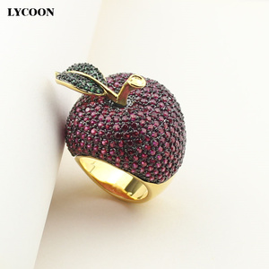 Image 2 - LYCOON elegant crystal apple rings food style yellow gold color luxury prong setting rose red/green Cubic Zirconia for women