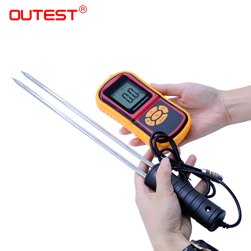 Digital Grain Moisture Meter with Measuring Probe LCD Display Tester for Corn Wheat Rice Bean Wheat Hygrometer GM640 with box weed management in rice wheat system