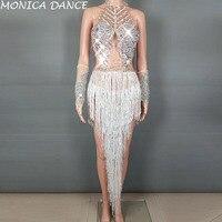 Женские Блестящие Серебряные Кристаллы бахрома танцевальный костюм перчатки со стразами кисточкой боди вечерние Одежда для сцены танцева