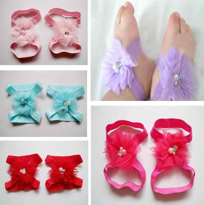Dla dzieci Mini Tull Mesh Pearl kwiaty obuwie sandały buty z palcami
