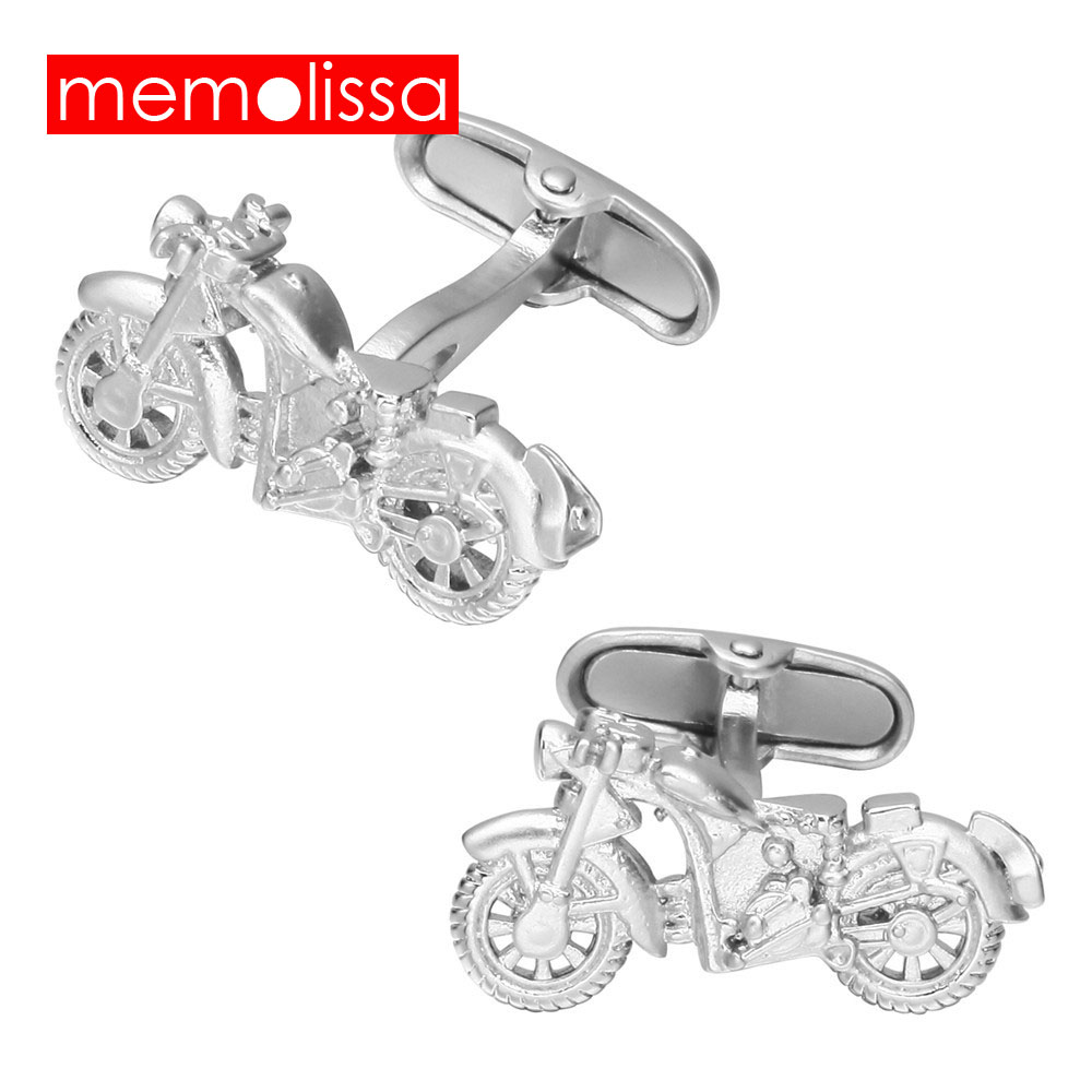 MeMolissa Novelty Silver Color Motorcycle Design French Cufflinks for Mens Cuff buttons for Car Fans Shirt Cuff Links Jewelry