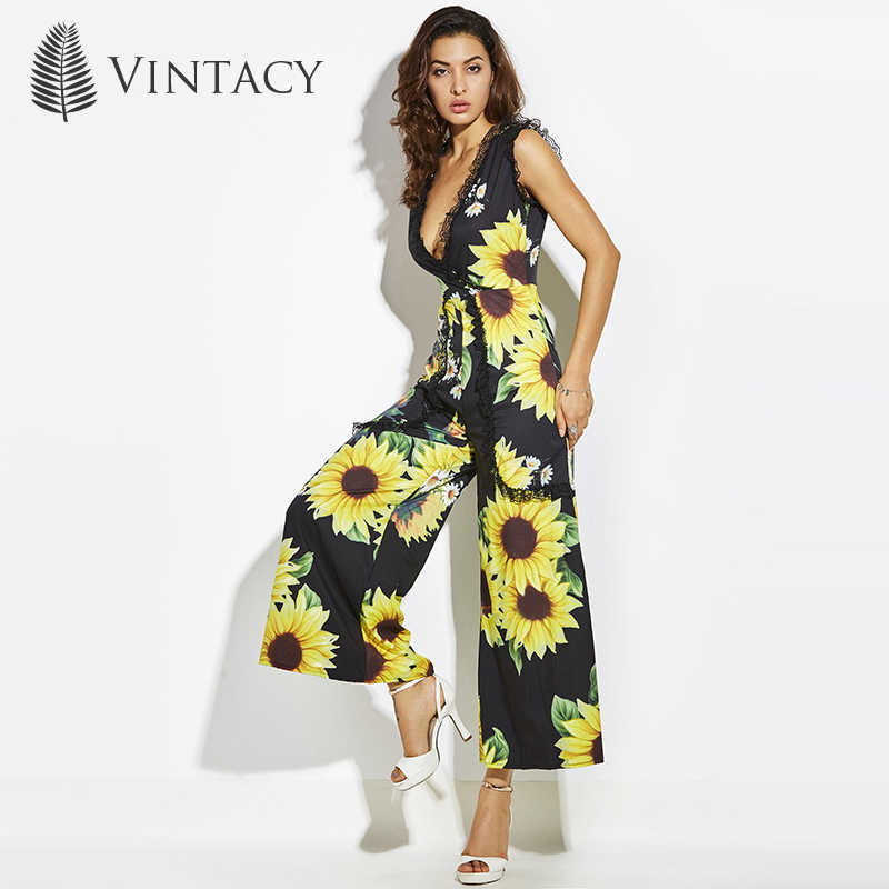 63abfb42fc0 ... Vintacy Sexy Jumpsuits for Women 2018 Deep V Neck Black Wide Leg Long  Romper Lace Sunflower ...