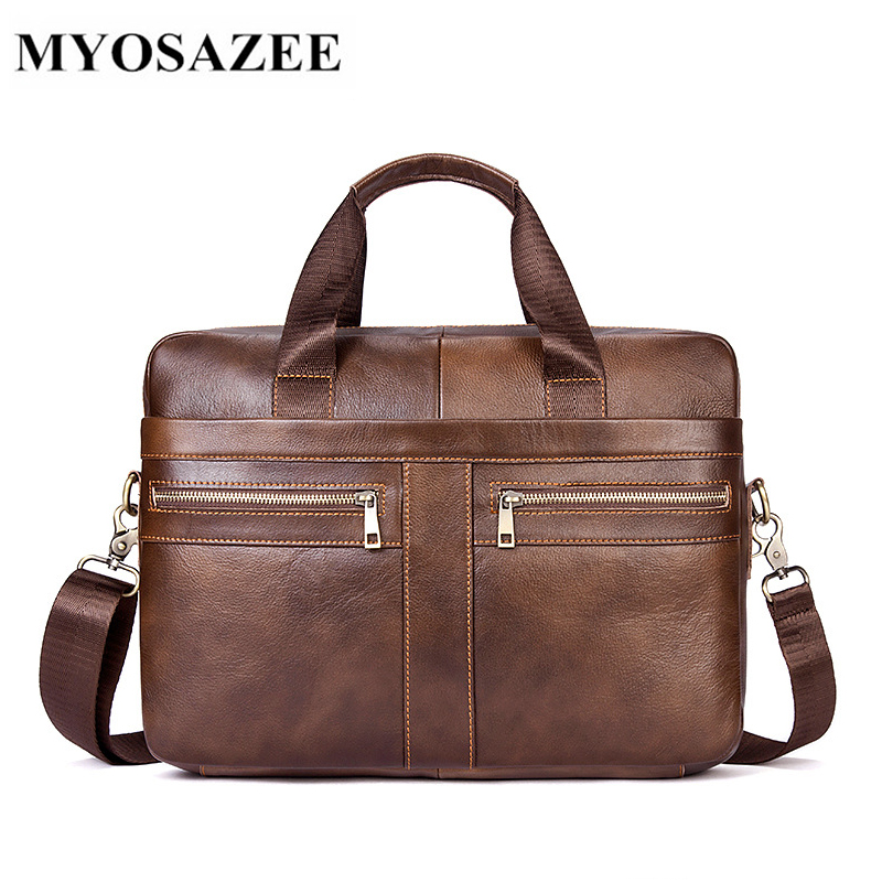 European and American Business Men's Briefcase Genuine Leather Men Bag Large Capacity Male Handbag Shoulder Bags-in Briefcases from Luggage & Bags    1