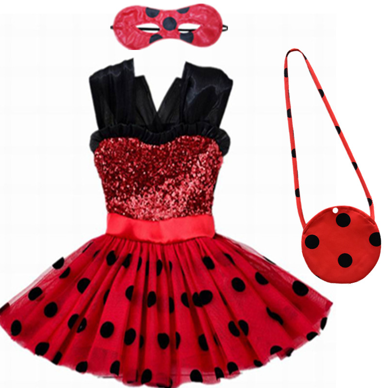 Carnival 2019 Ladybug Cosplay Girls Dress Summer Clothes Lady Bug Party Dress Children's Day Lace Dot Baby Girls Dresses