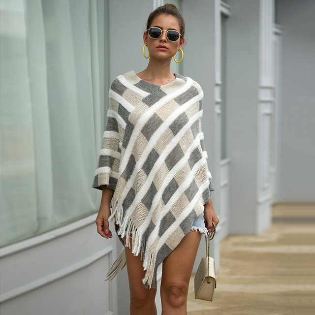 HEE GRAND Women Plaid Sweaters Autumn 2019 New Tassels Cloaks Sexy V-neck Pullovers High Street Capes Drop Shipping WZL1505