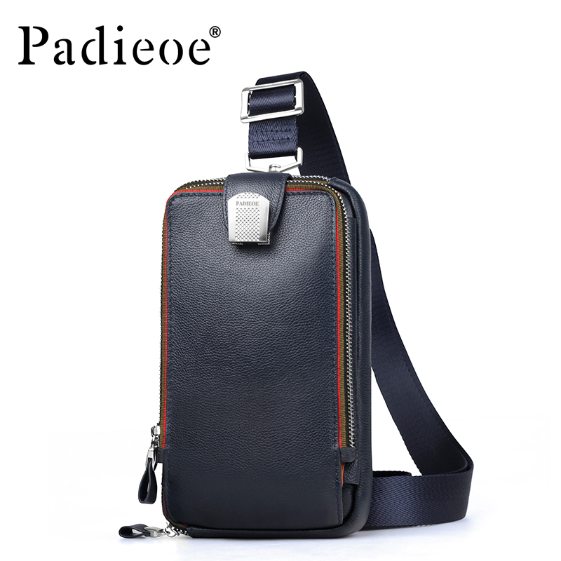 PADIEOE Men leather chest crossbody bag Casual men messenger bag high quality chest waist pack genuine