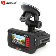 Junsun 3 en 1 Del Radar Del Coche DVR Dash cam Ambarella A7LA50 cámara 1296 P GPS para Rusia Velocidad Anti Detector de Radar de Vídeo Del Coche grabadora