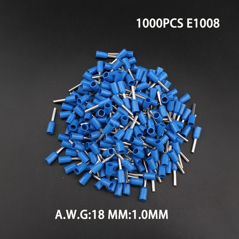 High Quality 1000pcs E1008 18AWG Copper Crimp Connector Insulated Cord Pin End Terminal Block Ferrules Kit Set Wire China 800pcs cable bootlace copper ferrules kit set wire electrical crimp connector insulated cord pin end terminal hand repair kit