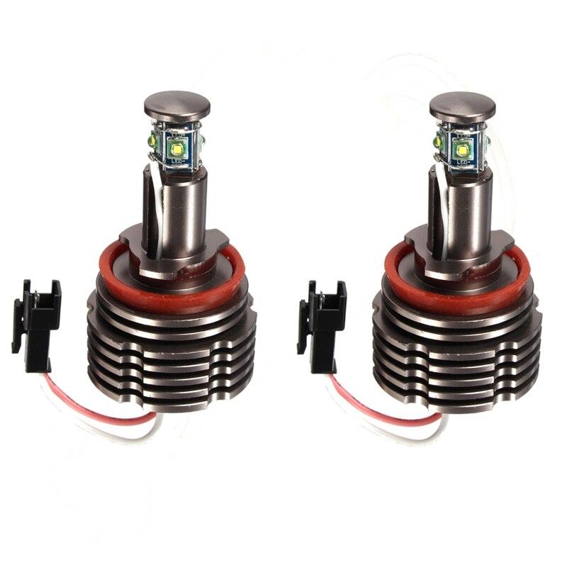 2 Pcs 40W H8 LED Angel Eyes Light 6500k H8 For BMW E60 E61 E63 E64 E70 E71 E72 E87 E89 Z4 E90 E91 E92 car styling for bmw m real carbon fiber handbrake cover fitting kit e87 e90 e92 e60 e63 e64 m5 m3 m tec