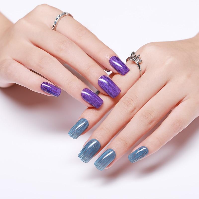 NEE JOLIE Crackle Nail Polish Black Gray Series Cracked Colorful Nail Art Varnish Manicure Nail Art Decoration Polish in Nail Polish from Beauty Health