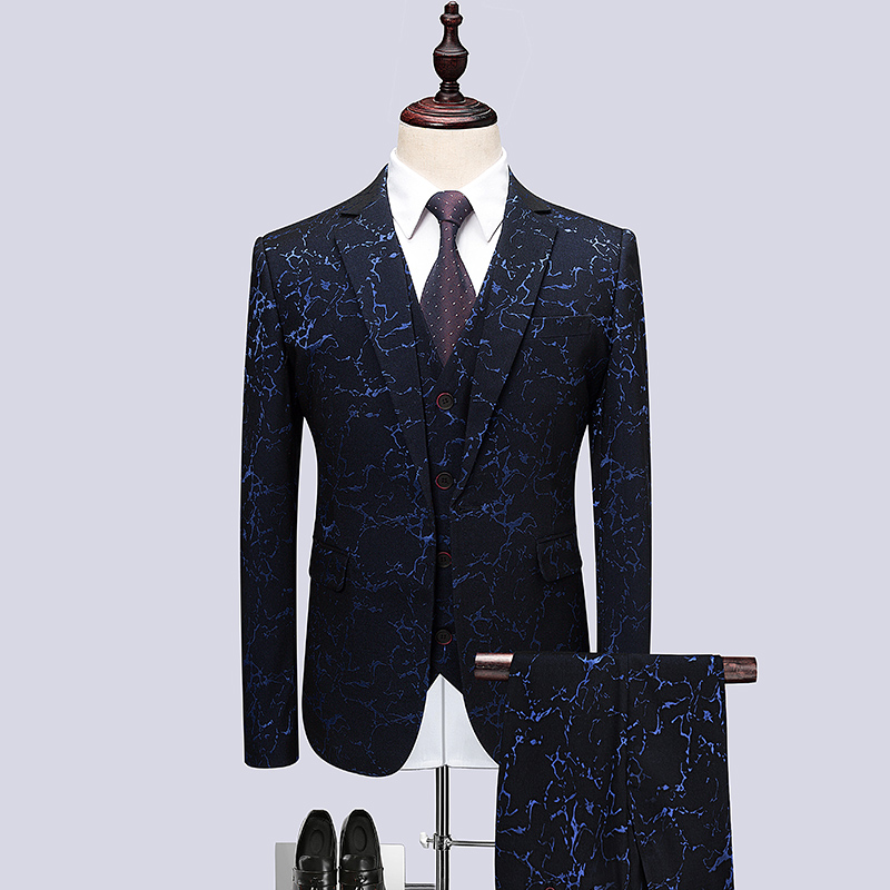 3 pcs 2018 men's fashion business casual luxury Carved brand slim suit for the host performance dress wedding Night dress/S-6XL women s business suit dress