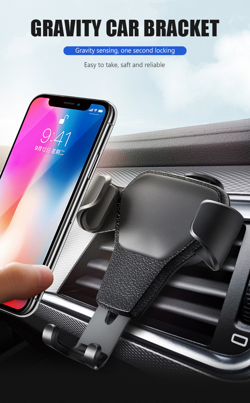 KCAR1017_8_Universal Car Phone Holder For Phone In Car Air Vent Mount Stand No Magnetic Mobile Holder Gravity Bracket for iPhone XS XR Huawei