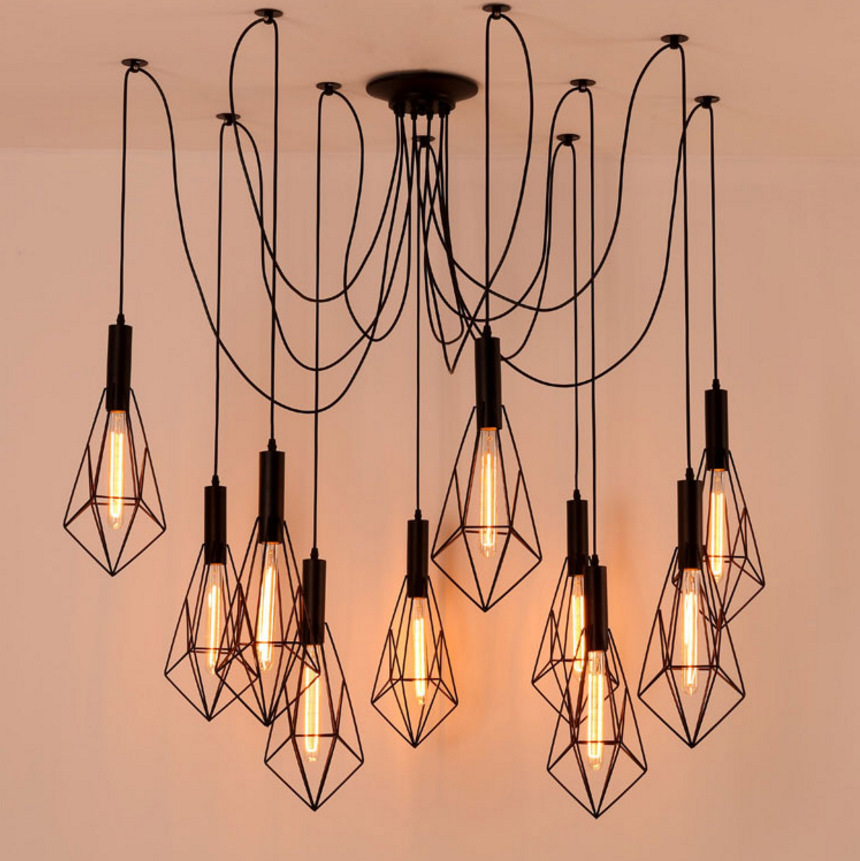 Mordern Nordic Retro Edison Bulb Light Chandelier Vintage Loft Antique Adjustable DIY E27 Art Spider Ceiling Lamp Fixture Light diy vintage lamps antique art spider pendant lights modern retro e27 edison bulb 2 meters line home lighting suspension
