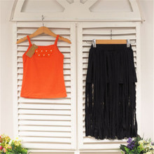 Emmababy Hot Sale Childrens Clothing Kids Baby Girls 2Pcs Outfits Cute Orange Sling Bohemian Floral Tops and Tassels Maxi Skirt