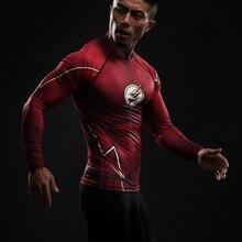 Реглан вспышки супермен печатные flash сжатия косплей футболки рубашка фитнес топы