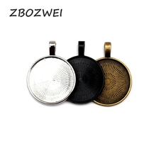 10pcs 25mm Silver Black bronze Plated Necklace Pendant Setting Cabochon Cameo Base Tray Copper Bezel Blank Jewelry mibrow 10pcs lot stainless steel 8 10 12 14 16 18 20mm blank french lever earring tray cabochon setting cameo base jewelry
