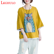 Plus Size 2018 Summer Women Cute Fashion Cat Print Cotton Tops Tee Ladies  Female Big Oversize 631ae6756b87