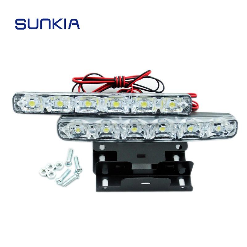 SUNKIA супер белый 5050 6SMD 6 Вт Универсальный Автомобильный свет дневные ходовые автомобильные лампы DRL вспомогательный свет в день car light light runninglight in car   АлиЭкспресс