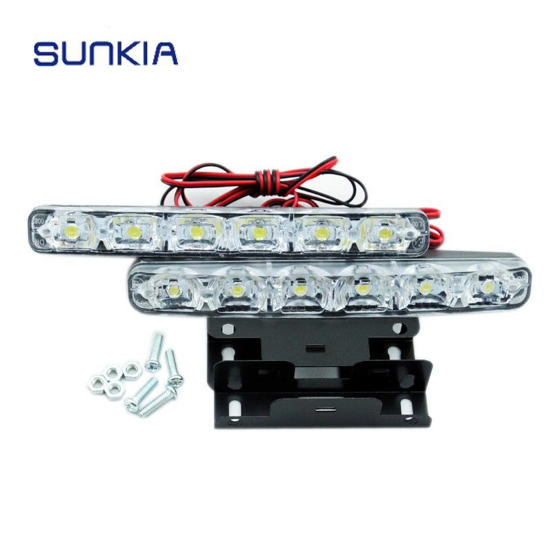 SUNKIA Super White 5050-6SMD 6W Universal Car Light Daytime Running Auto Lamp DRL Auxiliary Light In The Day