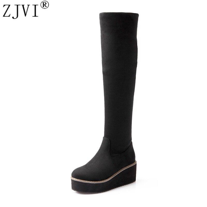 ZJVI woman Nubuck Black red blue wedge platform women thigh high flat boots 2019 womens fashion