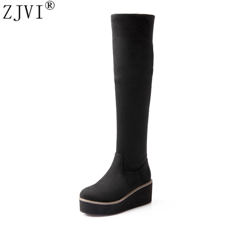 ZJVI woman Nubuck Black red blue wedge platform women thigh high flat boots 2019 womens fashion spring autumn round toe shoesZJVI woman Nubuck Black red blue wedge platform women thigh high flat boots 2019 womens fashion spring autumn round toe shoes