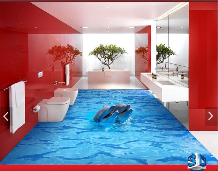 ФОТО 3D wallpaper custom 3d floor painting wallpaper Dolphin 3 d the bathroom floor 3d sitting room photo wallpaper