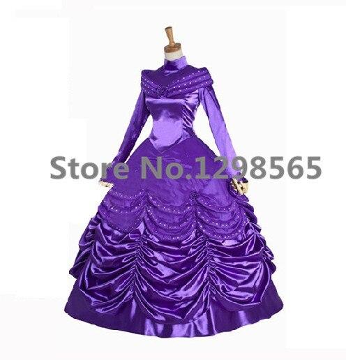Custom Made movie Beauty And Beast Princess Belle Purple Dress Costume Movie Cosplay Costume Customized