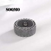SOQMO Ring 100% Real 925 sterling silver 10mm Wide Weave ring men women jewelry dropshipping accessories wholesale china SQM286