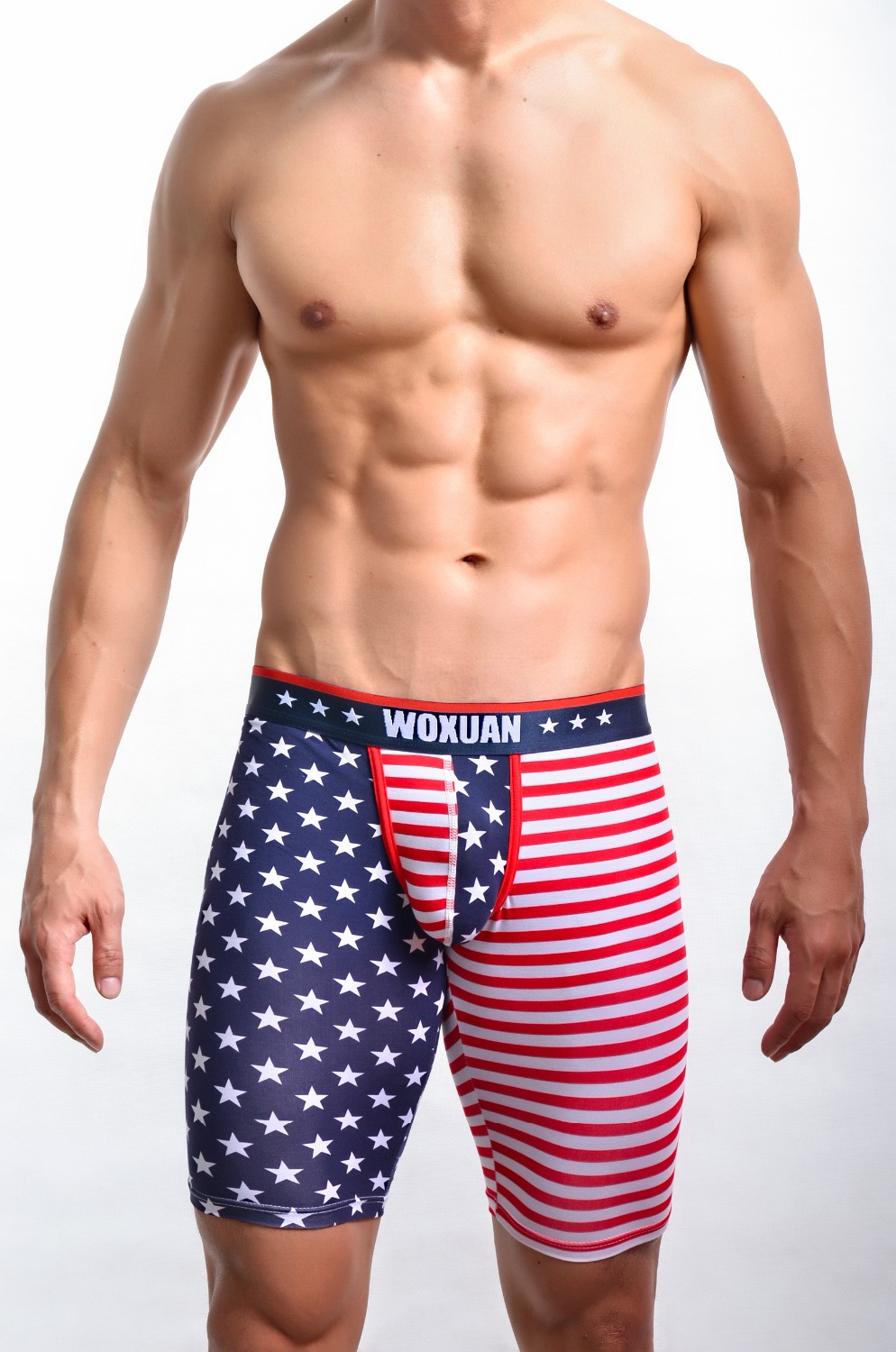 New Fashion USA Flag Printed Shorts Men Sexy Novelty Skinny Leggings Bottoms/Gay Funny Lounge Pants Beachwear FX1018