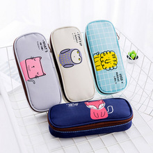 Creative Cute Animal Pen Bag Large Capacity Pencilcase Canvas Material Kawaii Pen Case Stationery Office School Supplies недорого