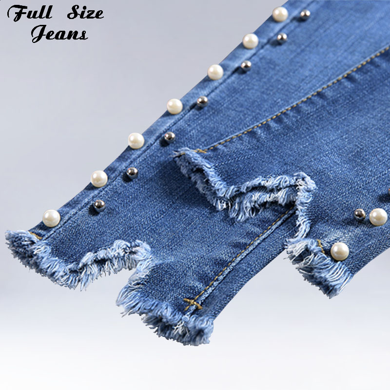 Summer Plus Size Nail Bead Light Blue Capris Jeans 4Xl 5Xl Light Blue Stretch Denim Pants Women Casual Trousers