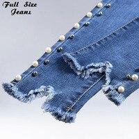 Summer Plus Size Nail Bead Light Blue Capris Jeans 4Xl 5Xl Light Blue Stretch Denim Pants Women Casual Trousers