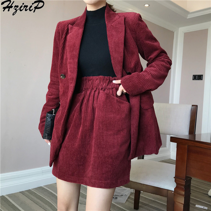Hzirip Work Wear 2019 Short Skirt Suit Women Loose Spring Autumn Long sleeved Blazer with Shorts OL Office Ladies Formal Suits