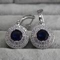 Bohemian Vintage Drop Earrings Cz Diamond Jewelry Hanging Wedding Earrings With Blue Topaz Silver Brinco Para Noivas Ye002-9