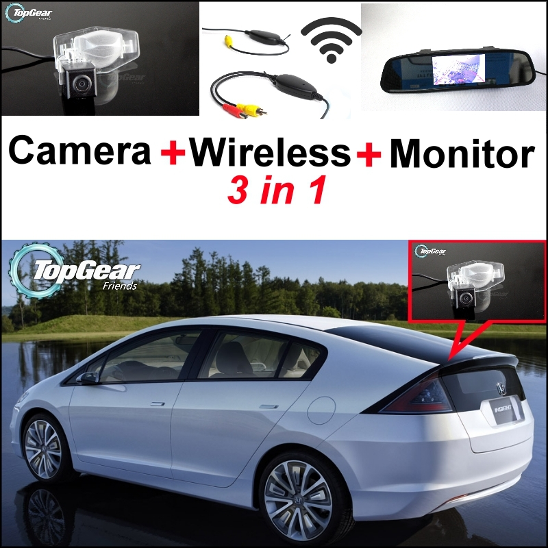 3 in1 Special Camera + Wireless Receiver + Mirror Monitor Easy DIY Back Up Parking System For Honda Insight 5D 2010~2015 3 in1 special rear view camera wireless receiver mirror monitor easy diy back up parking system for vw volkswagen passat cc
