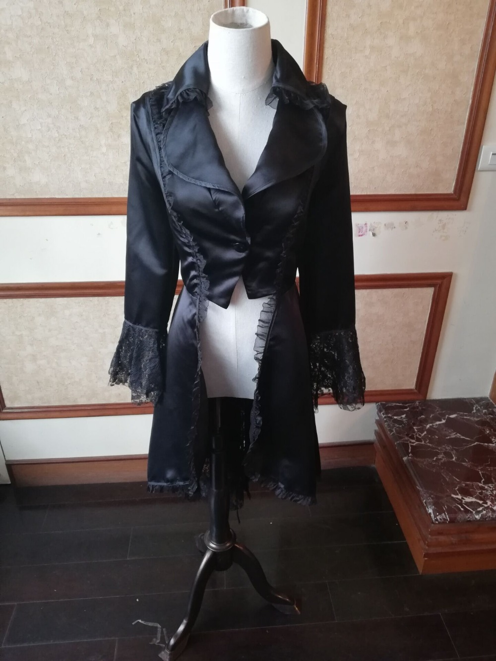 Women Lace Trim Lace-up Coat Victorian Jacket Medieval Gothic Noble Court Dress