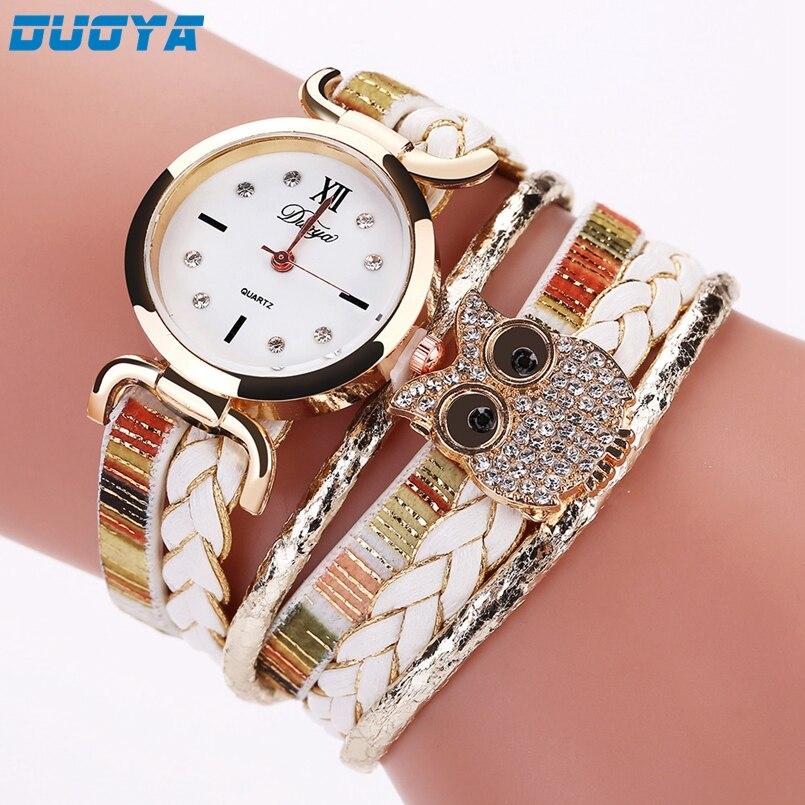 New Duoya Fashion Women Bracelet Watch Gold Quartz Gift Watch Wristwatch Women Dress Leather Casual Bracelet Watches Dropship