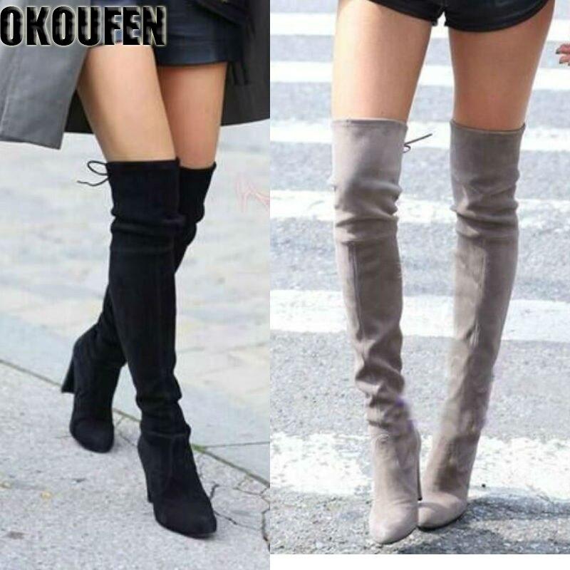 Их новые сапоги выше колена женская обувь зимние растягивающиеся сапоги теплые Обувь на высоком каблуке сапоги длинные обувь