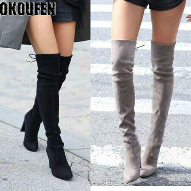 Their new over the knee boots women shoes winter stretch boots keep warm high heels boots long shoes