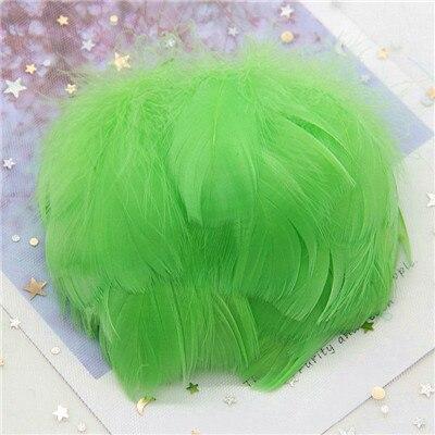 Натуральные гусиные перья 4-8 см, маленькие плавающие цветные перья лебедя, Плюм для рукоделия, свадебные украшения, украшения для дома, 100 шт - Цвет: Fruit green 100pcs