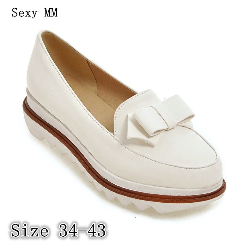Slip On Shoes Flat Platform Women Oxfords Shoes Loafers Flats Woman Casual Shoes High Quality Plus Size 34 - 40 41 42 43 2017 spring women flats pu leather shoes woman pointed toe slip on platform loafers woman creepers casual shoes size 35 40