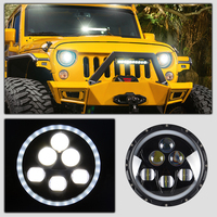 RACBOX 1 Pcs 7 60W With LED Chips Projector Headlights For Jeep Wrangler JK TJ LJ