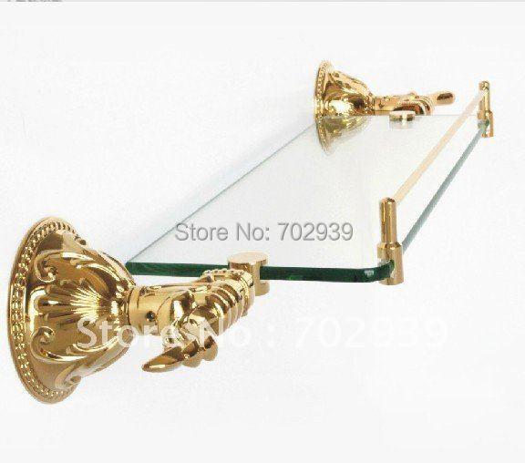 FREE SHIPPING new design 24k GOLD single glass shelf