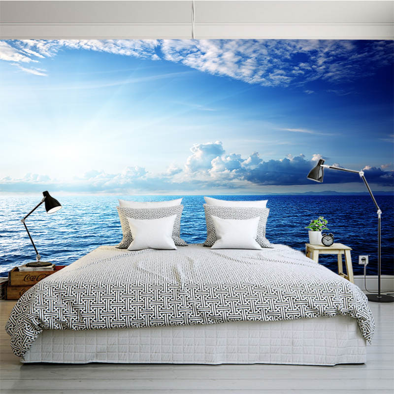 3d sky wall bedroom mural hotel living landscape nature diy seaside theme office simple cloud romantic murals interior wallpapers decor